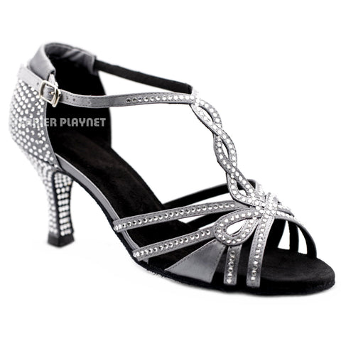 Silver Gray Women Rhinestone Dance Shoes Q165