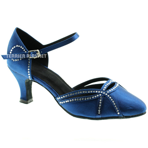 Blue Women Rhinestone Dance Shoes Q16