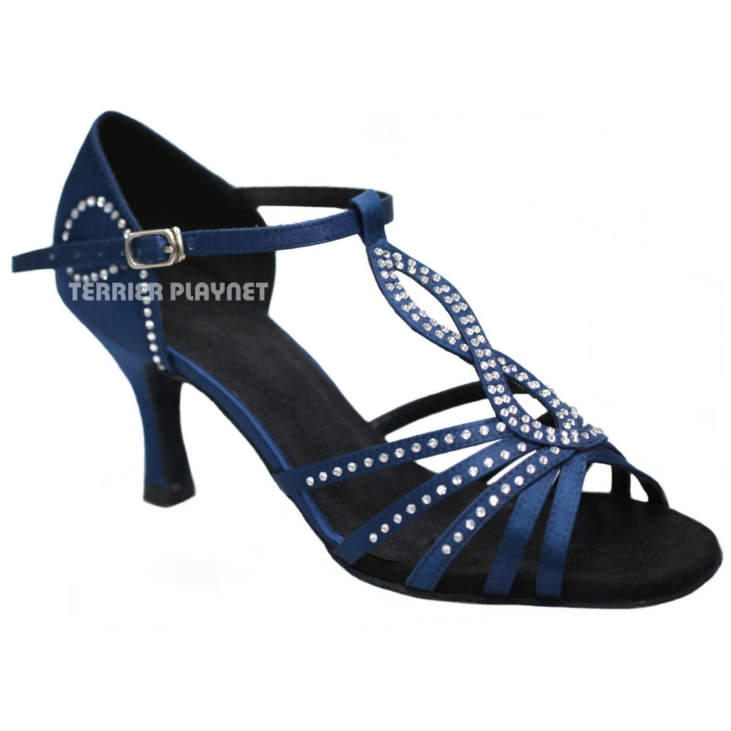 Blue Women Rhinestone Dance Shoes Q20