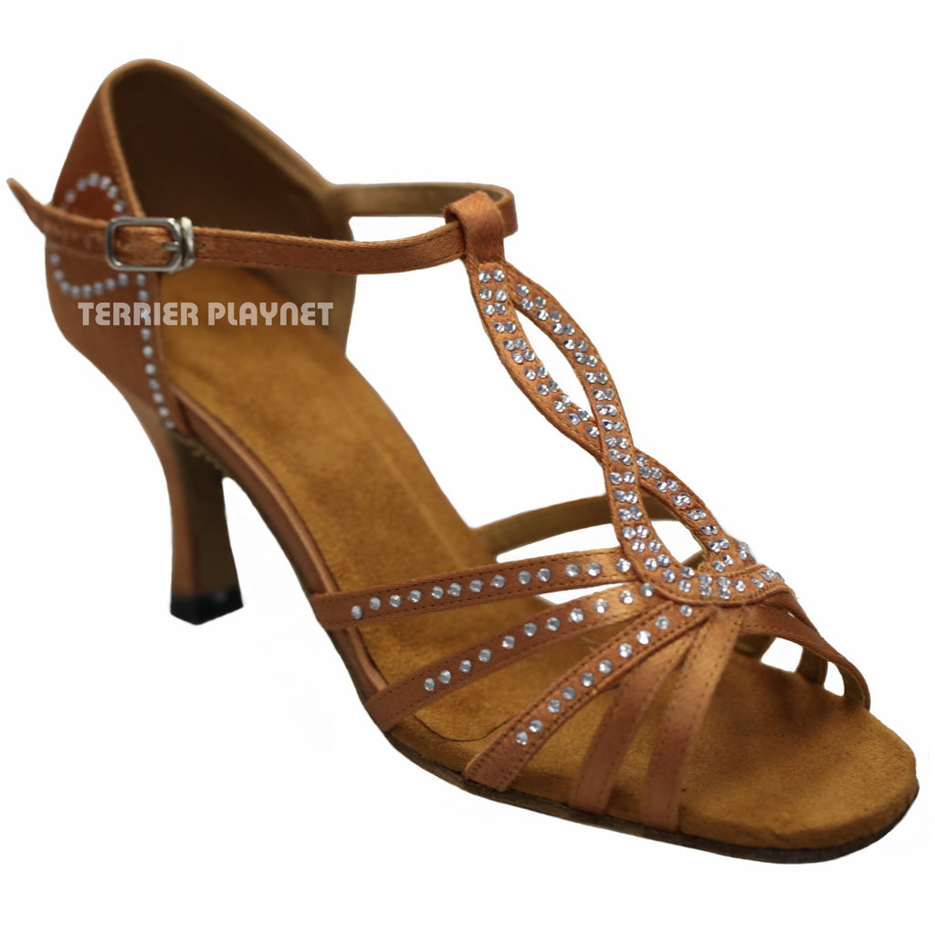 Tan Women Rhinestone Dance Shoes Q22
