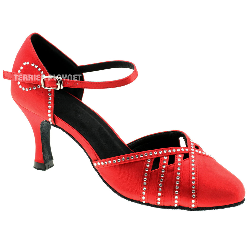 Red Women Rhinestone Dance Shoes Q33 - Terrier Playnet Shop