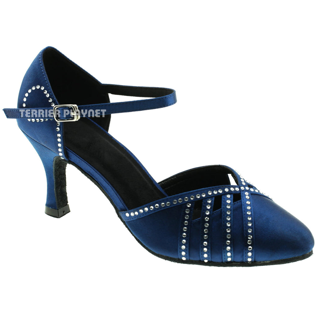 Blue Women Rhinestone Dance Shoes Q34 - Terrier Playnet Shop