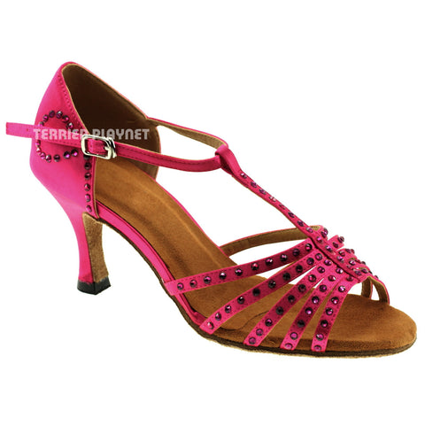 Hot Pink Women Rhinestone Dance Shoes Q40