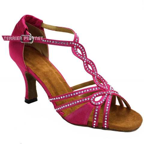 Hot Pink Women Rhinestone Dance Shoes Q41