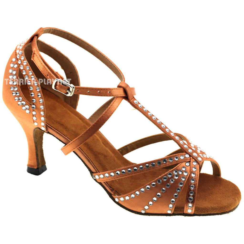Tan Women Rhinestone Dance Shoes Q42 - Terrier Playnet Shop
