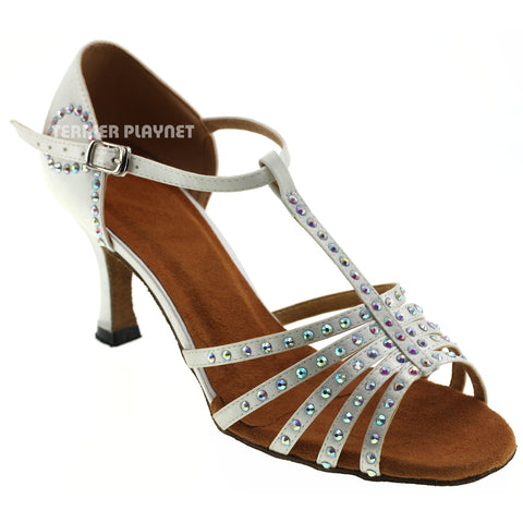 White Women Rhinestone Dance Shoes Q46