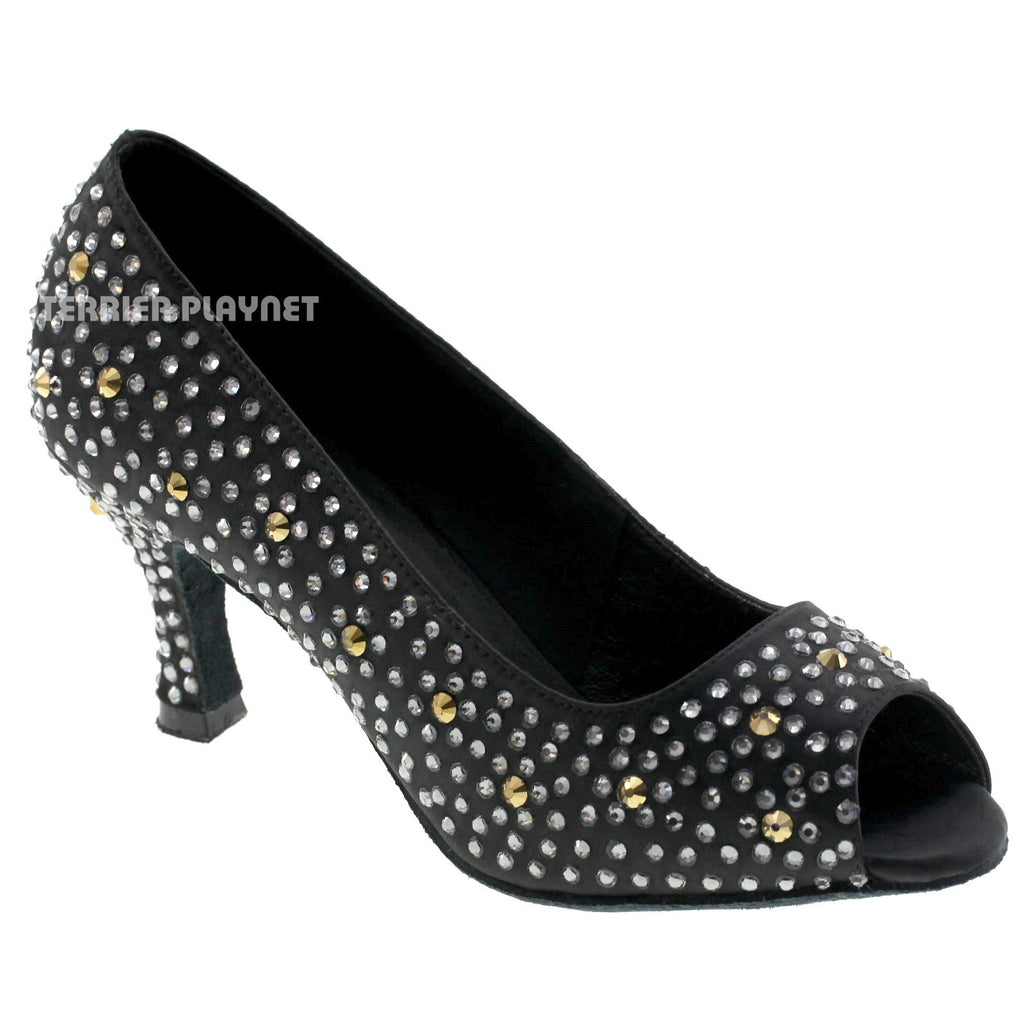 Limited Edition Black Women Rhinestone Dance Shoes Q49