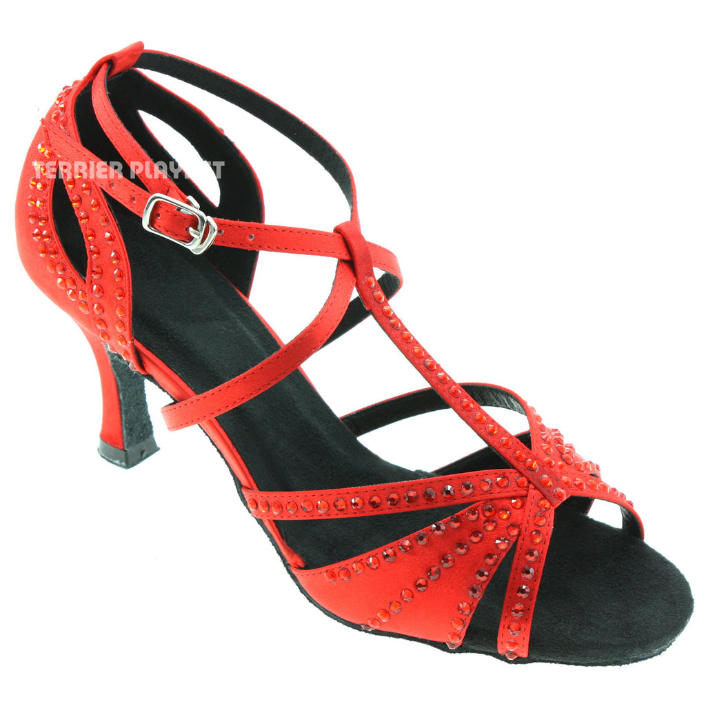 Red Women Rhinestone Dance Shoes Q52 - Terrier Playnet Shop
