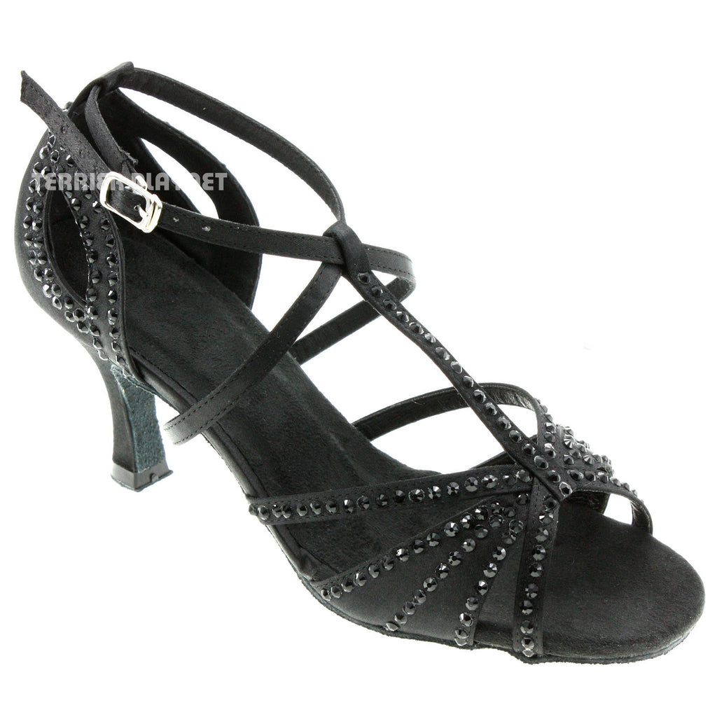 Black Women Rhinestone Dance Shoes Q53 - Terrier Playnet Shop
