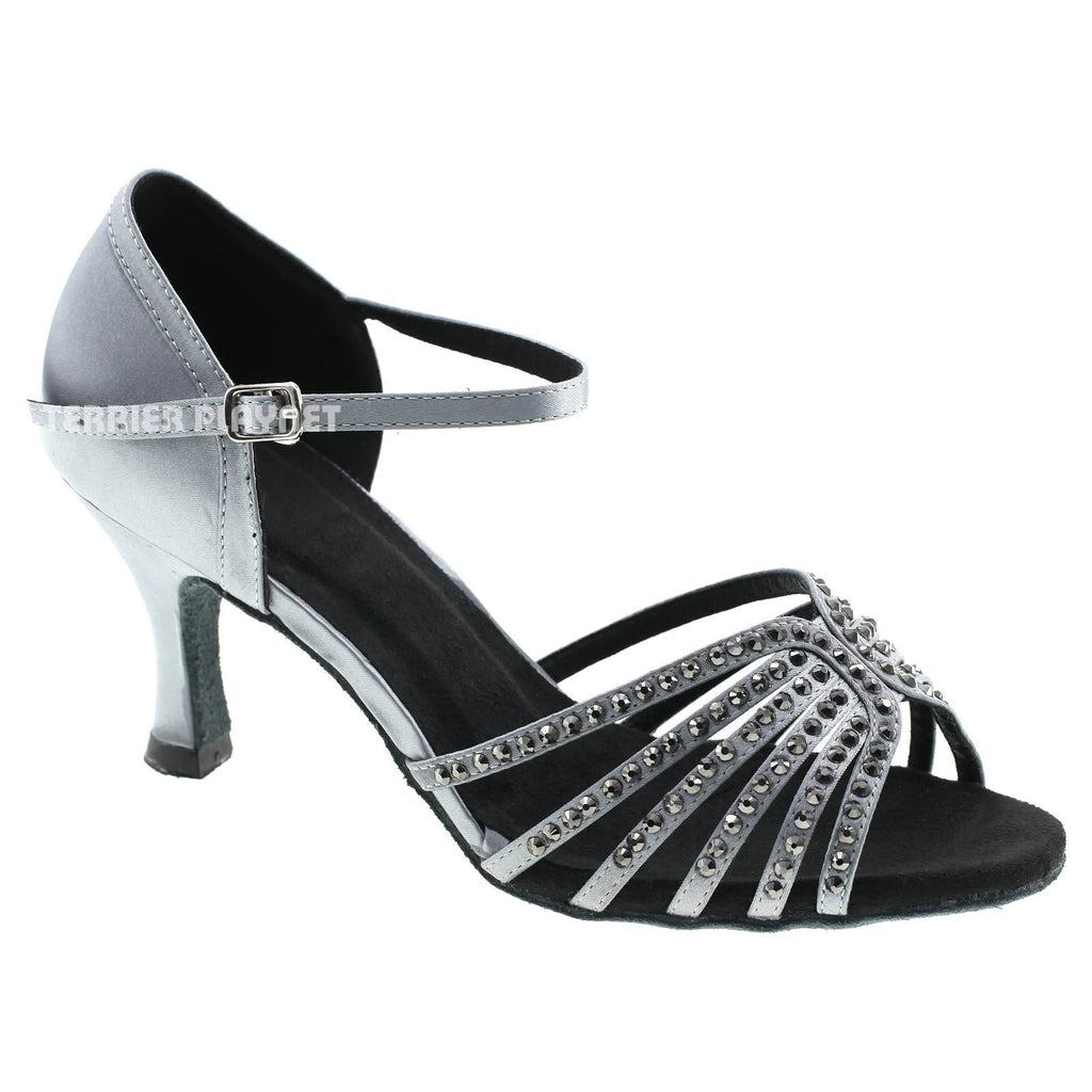 Silver Gray Women Rhinestone Dance Shoes Q56