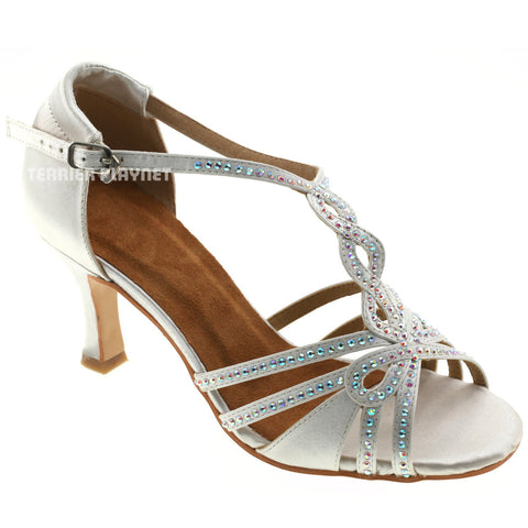 White Women Rhinestone Dance Shoes Q59