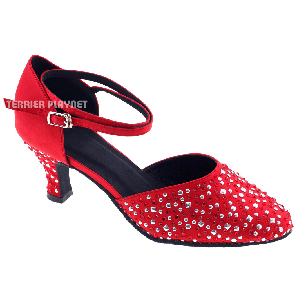 Red Women Rhinestone & Studded Dance Shoes Q64