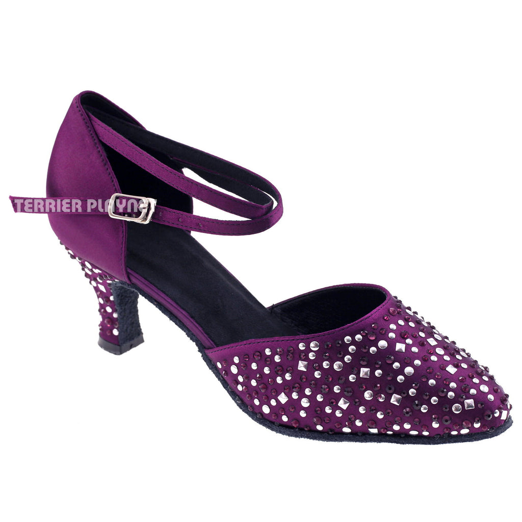 Purple Women Rhinestone & Studded Dance Shoes Q65 - Terrier Playnet Shop