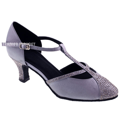 Silver Gray Women Rhinestone Dance Shoes Q66