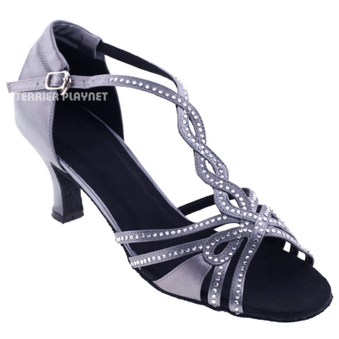 Silver Gray Women Rhinestone Dance Shoes Q67