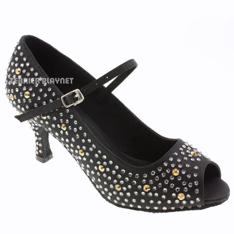 Black Women Rhinestone Dance Shoes Q68