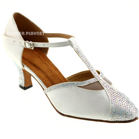 White Women Rhinestone Dance Shoes Q71