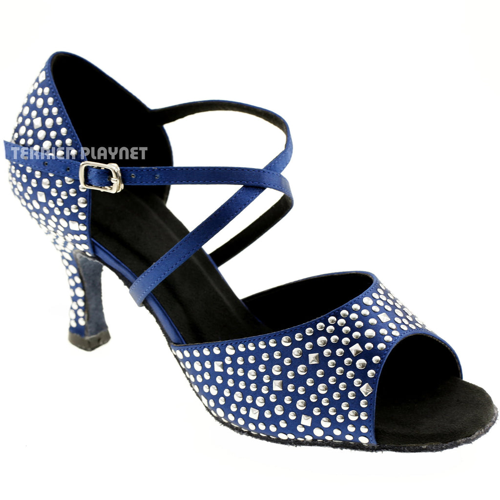 Blue Women Rhinestone & Studded Dance Shoes Q74