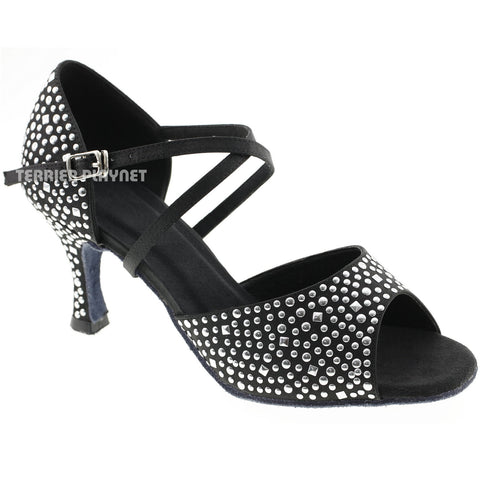 Black Women Rhinestone & Studded Dance Shoes Q75