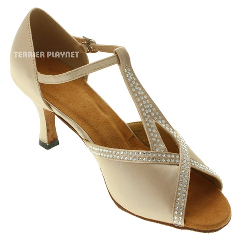 Cream Women Rhinestone Dance Shoes Q81