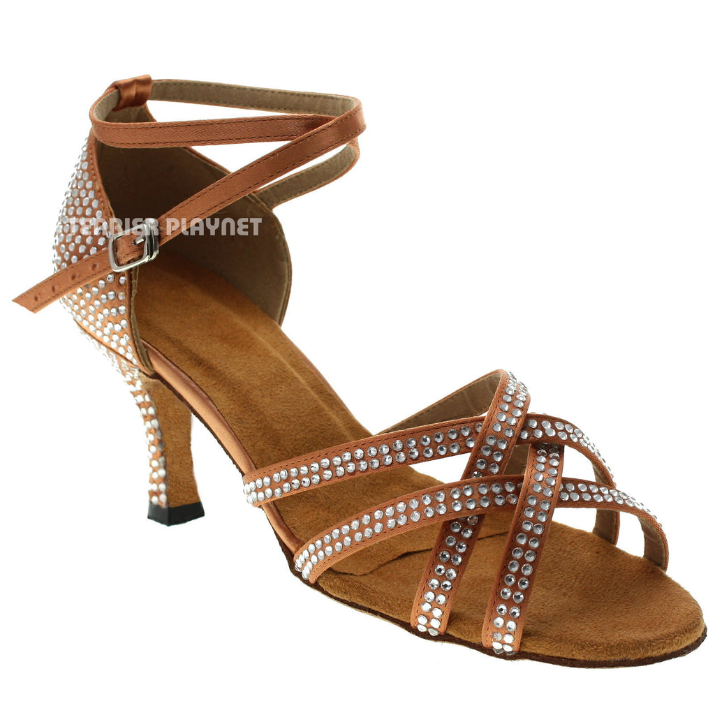 Tan Women Rhinestone Dance Shoes Q84 - Terrier Playnet Shop
