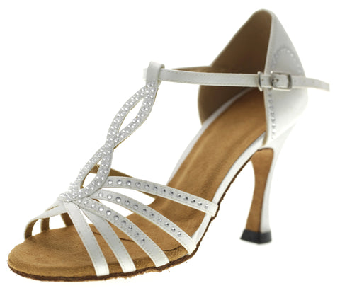 White Women Rhinestone Dance Shoes Q89