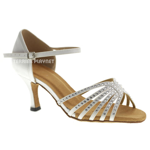 White Women Rhinestone Dance Shoes Q90