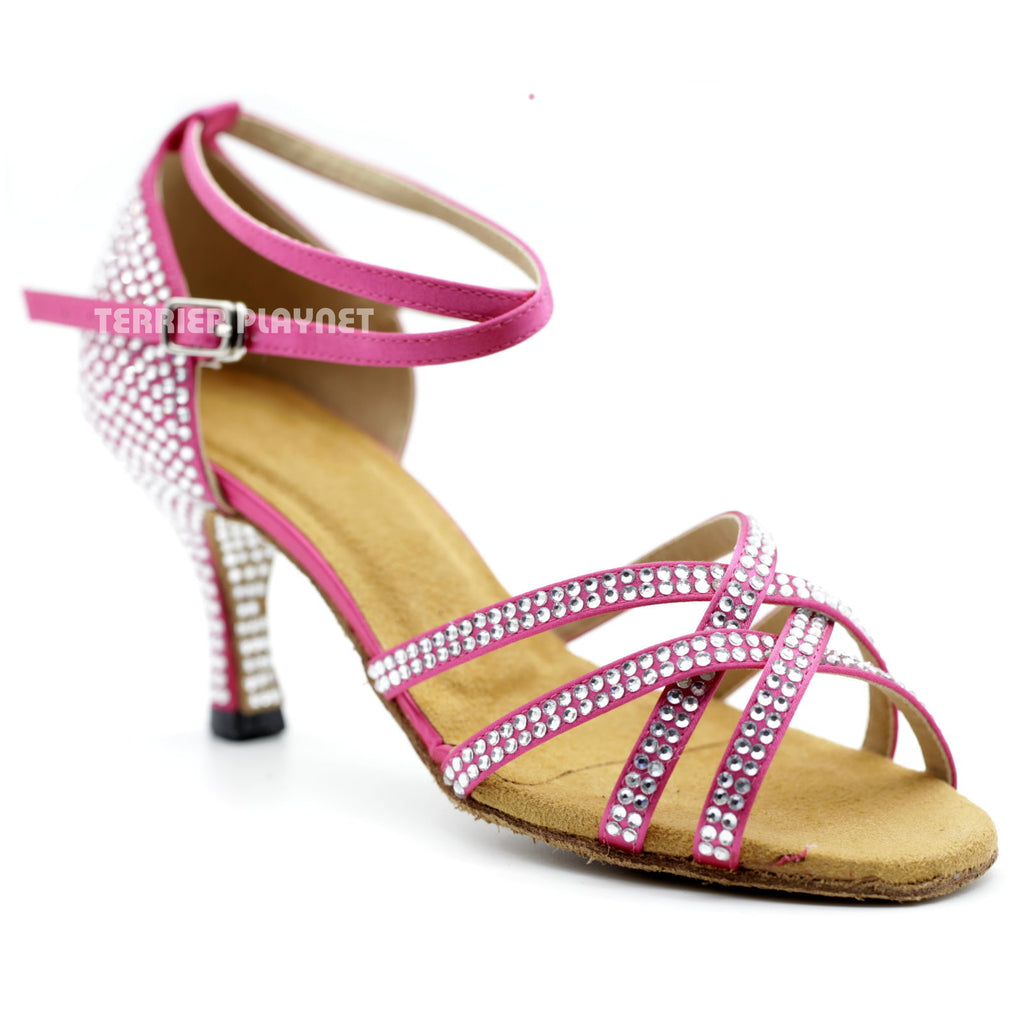 Hot Pink Women Rhinestone Dance Shoes Q91 UK5/US7.5/EU38 3 Inches/7.5cm Heel