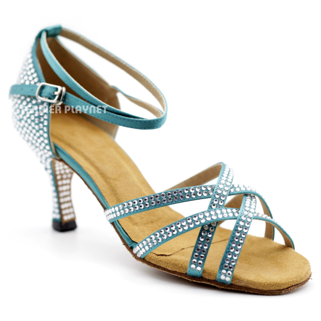 Turquoise Women Rhinestone Dance Shoes Q92 UK5/US7.5/EU38 3 Inches/7.5cm Heel - Terrier Playnet Shop