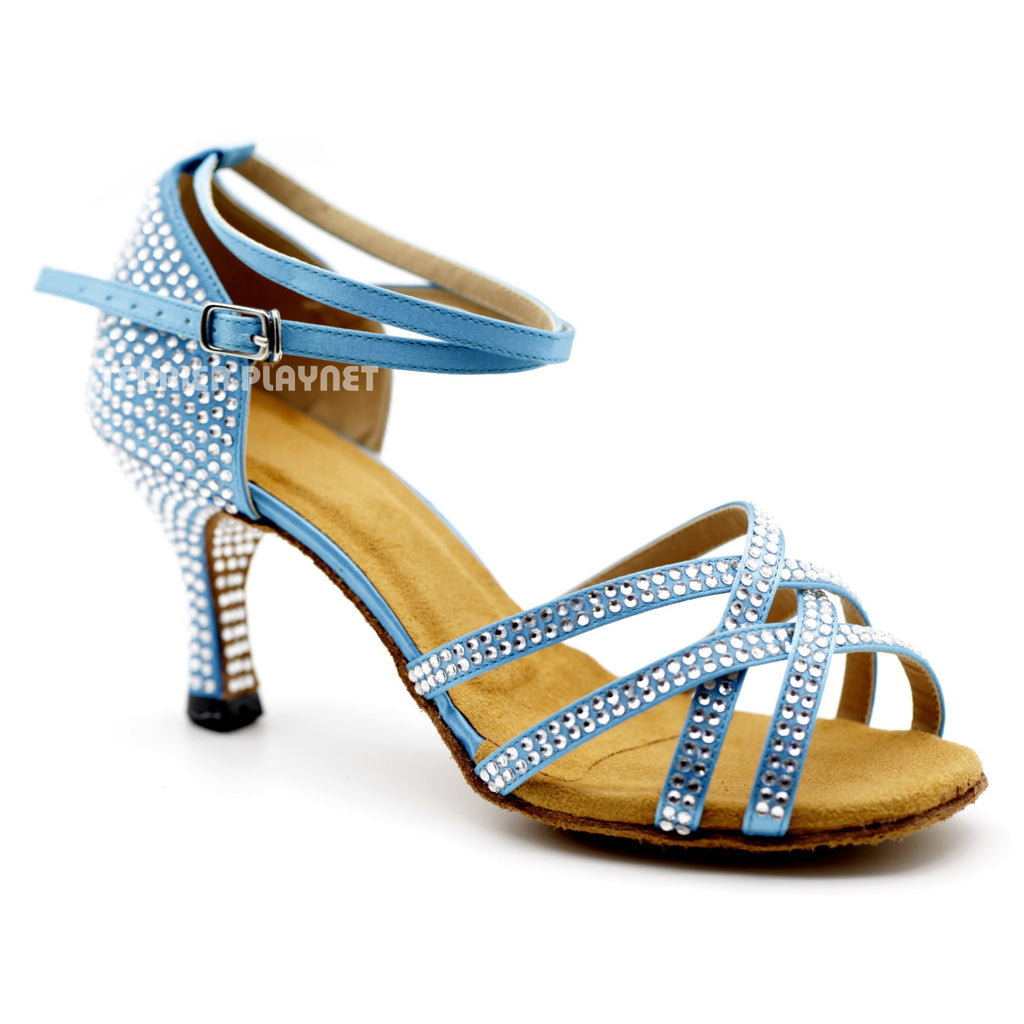 Light Blue Women Rhinestone Dance Shoes Q93
