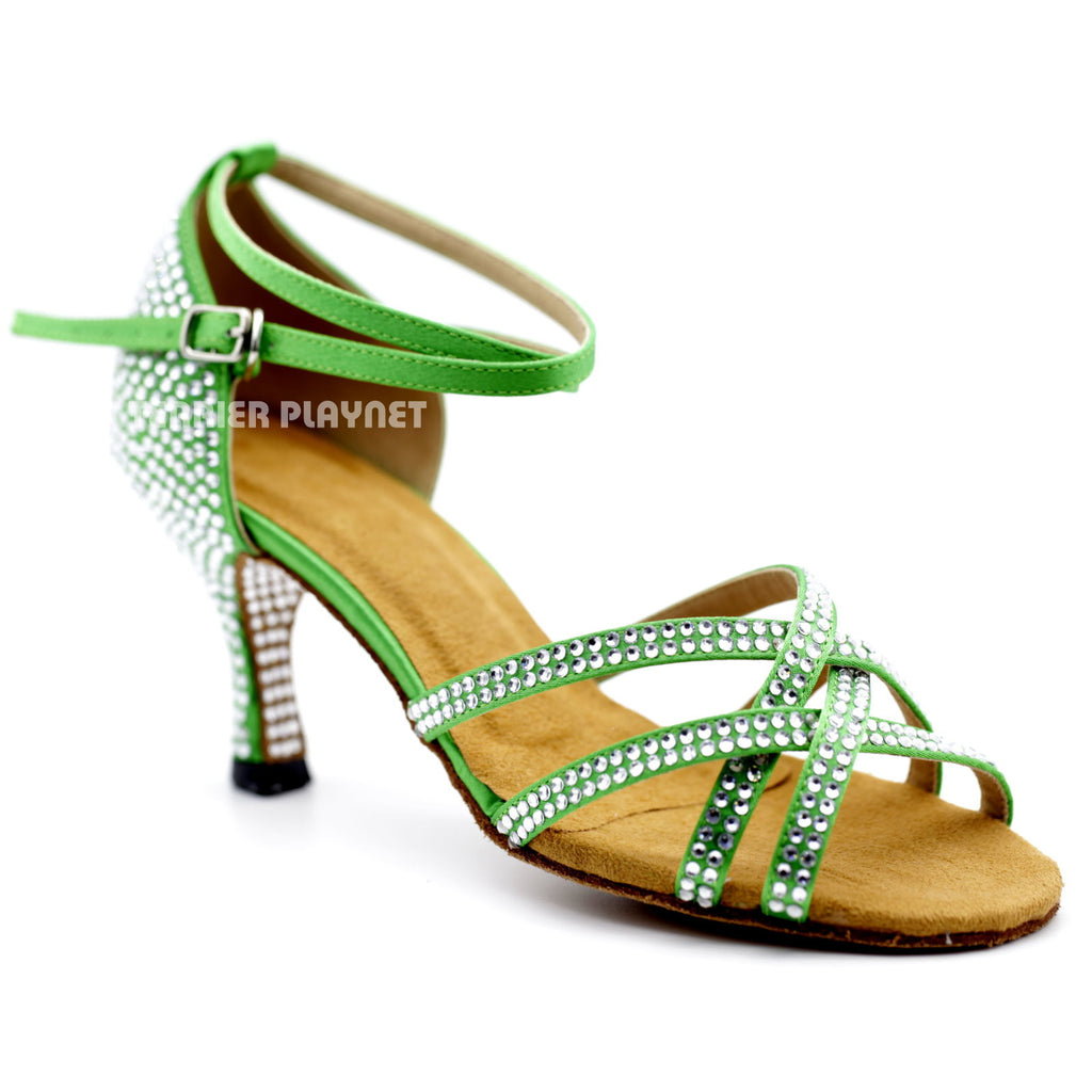 Green Women Rhinestone Dance Shoes Q94 UK5/US7.5/EU38 3 Inches/7.5cm Heel