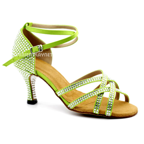 Light Green Women Rhinestone Dance Shoes Q95 UK5/US7.5/EU38 3 Inches/7.5cm Heel