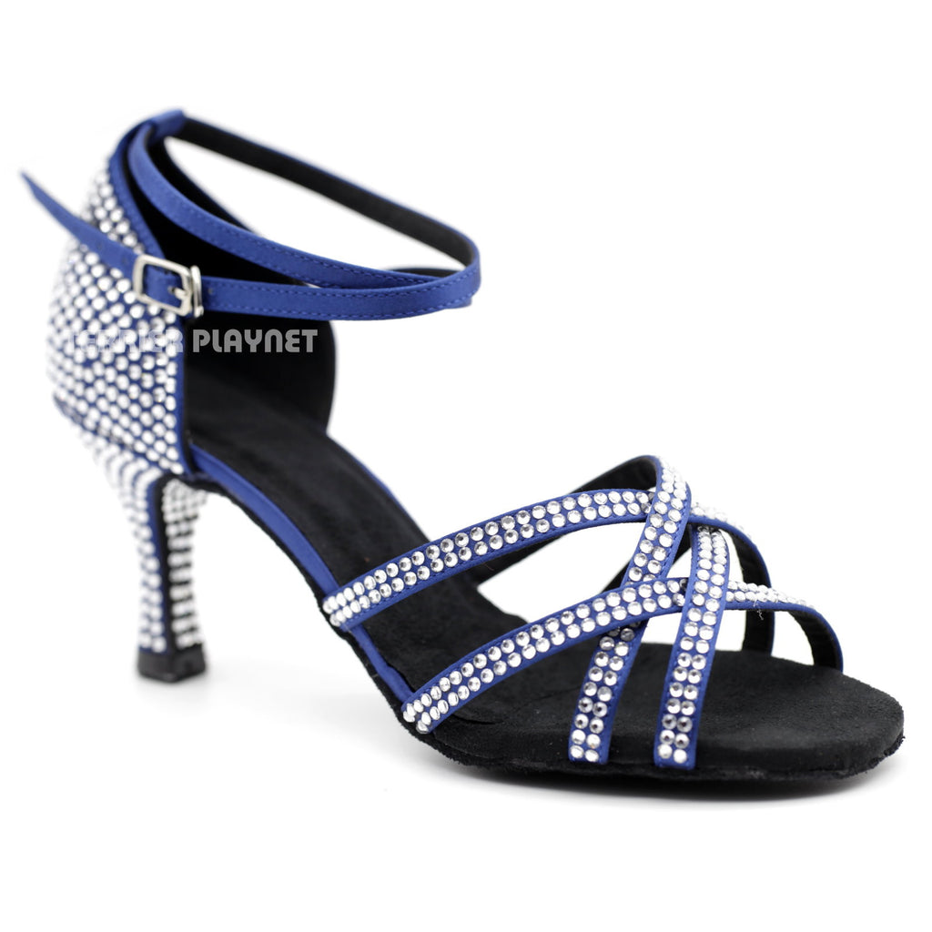 Blue Women Rhinestone Dance Shoes Q96 UK5/US7.5/EU38 3 Inches/7.5cm Heel - Terrier Playnet Shop