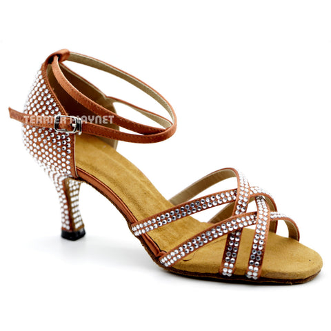 Dark Tan Women Rhinestone Dance Shoes Q98 UK5/US7.5/EU38 3 Inches/7.5cm Heel