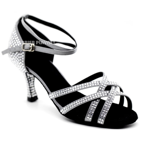 Silver Gray Women Rhinestone Dance Shoes Q99 UK5/US7.5/EU38 3 Inches/7.5cm Heel