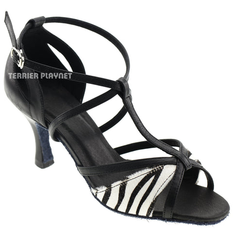 Limited Edition High Quality Black Leather & Zebra Pattern Fur Women Dance Shoes D1001