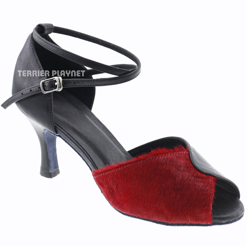 Limited Edition High Quality Black Leather & Red Fur Women Dance Shoes D1003 - Terrier Playnet Shop