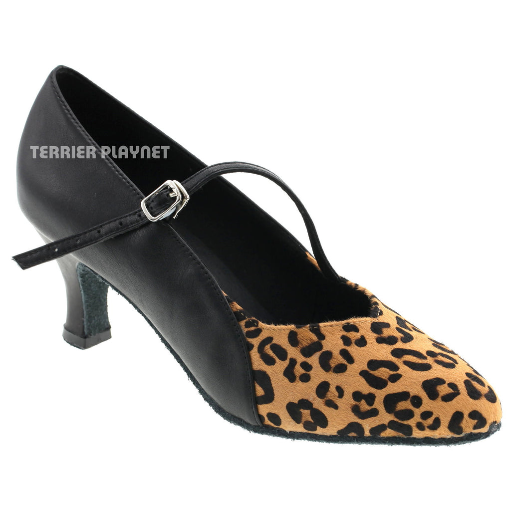 Limited Edition High Quality Black Leather & Leopard Pattern Fur Women Dance Shoes D523 - Terrier Playnet Shop