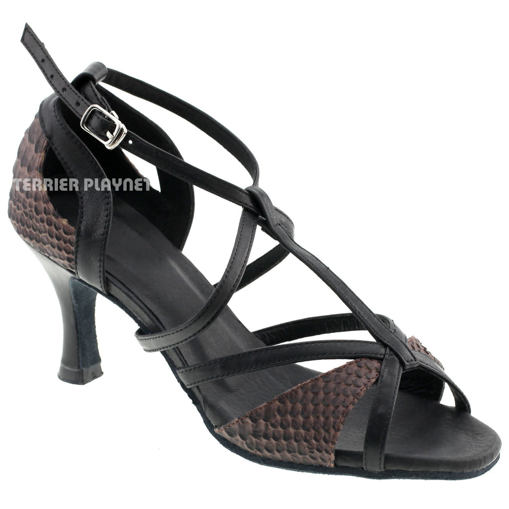 Limited Edition High Quality Black Leather & Snake Pattern Leather Women Dance Shoes D525