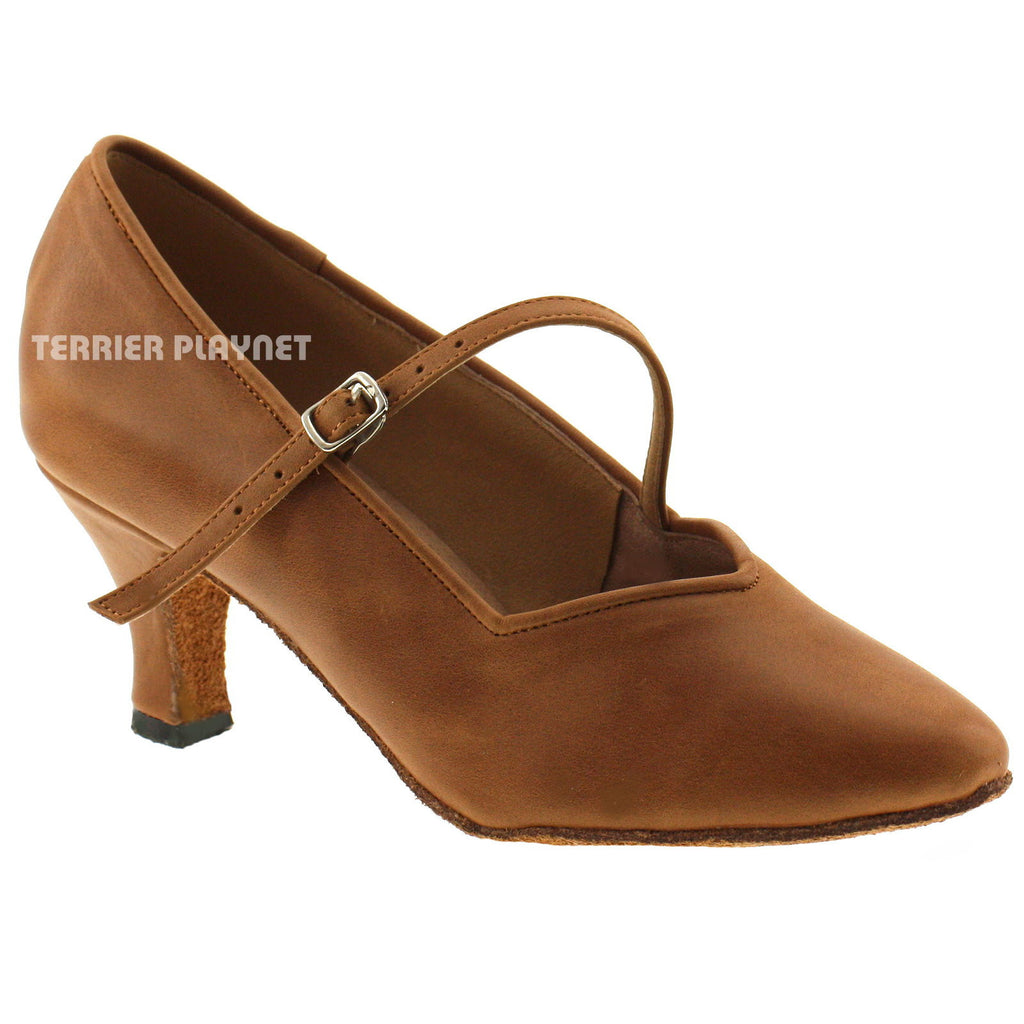 High Quality Brown Leather Women Dance Shoes D565 UK5.5/US8/EU39 2 Inches/5cm Heel - Terrier Playnet Shop