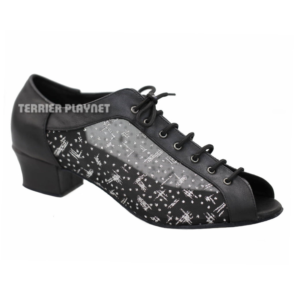 High Quality Black Leather Women Dance Shoes D911 - Terrier Playnet Shop