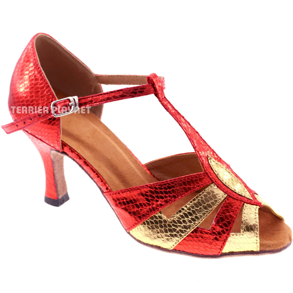 Red & Gold Women Dance Shoes S47