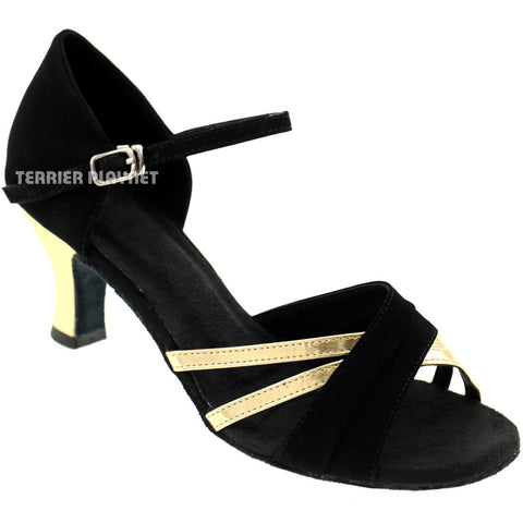 Black & Gold Women Dance Shoes S8 UK2.5/US5/EU35 3.25 Inches / 8.25cm Heel