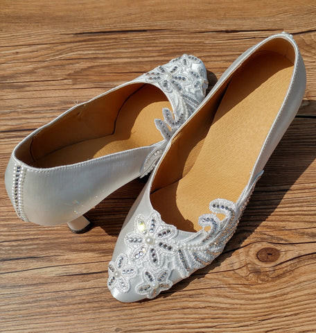 White Swarovski Crystals Lace Women Dance Shoes W007