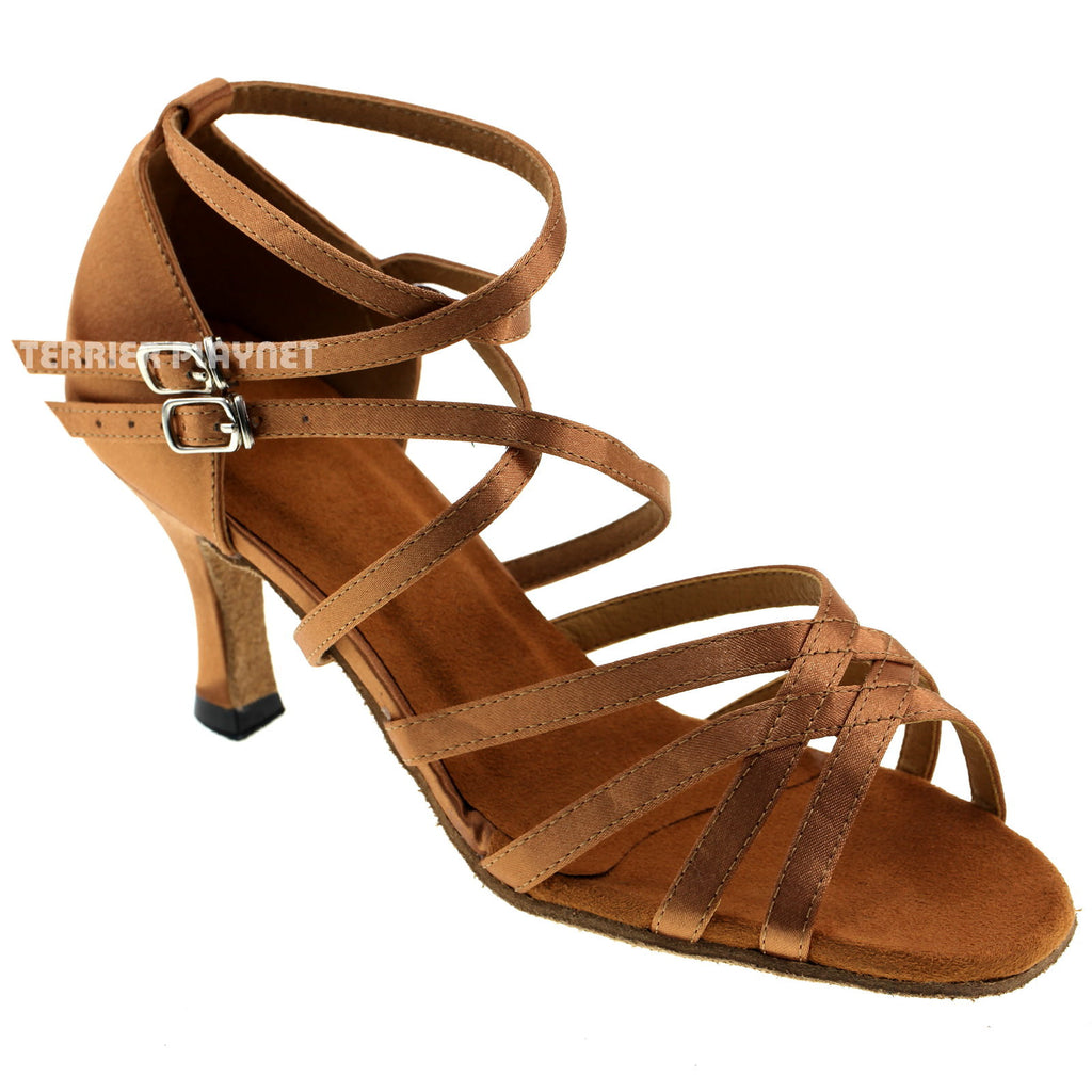 Tan Women Dance Shoes D331 - Terrier Playnet Shop