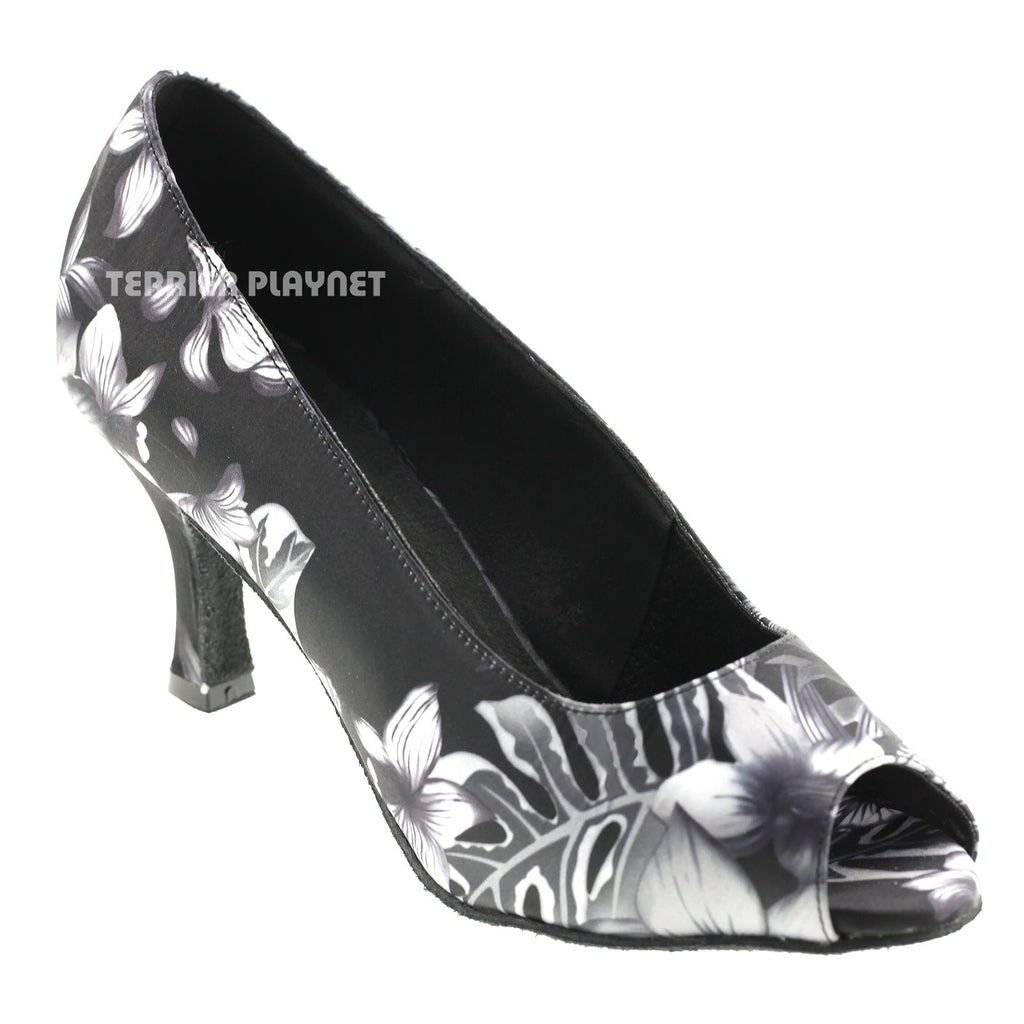 Black & Gray Flower Pattern Women Dance Shoes D570 - Terrier Playnet Shop