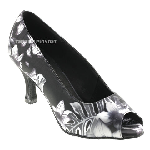 Black & Gray Flower Pattern Women Dance Shoes D570