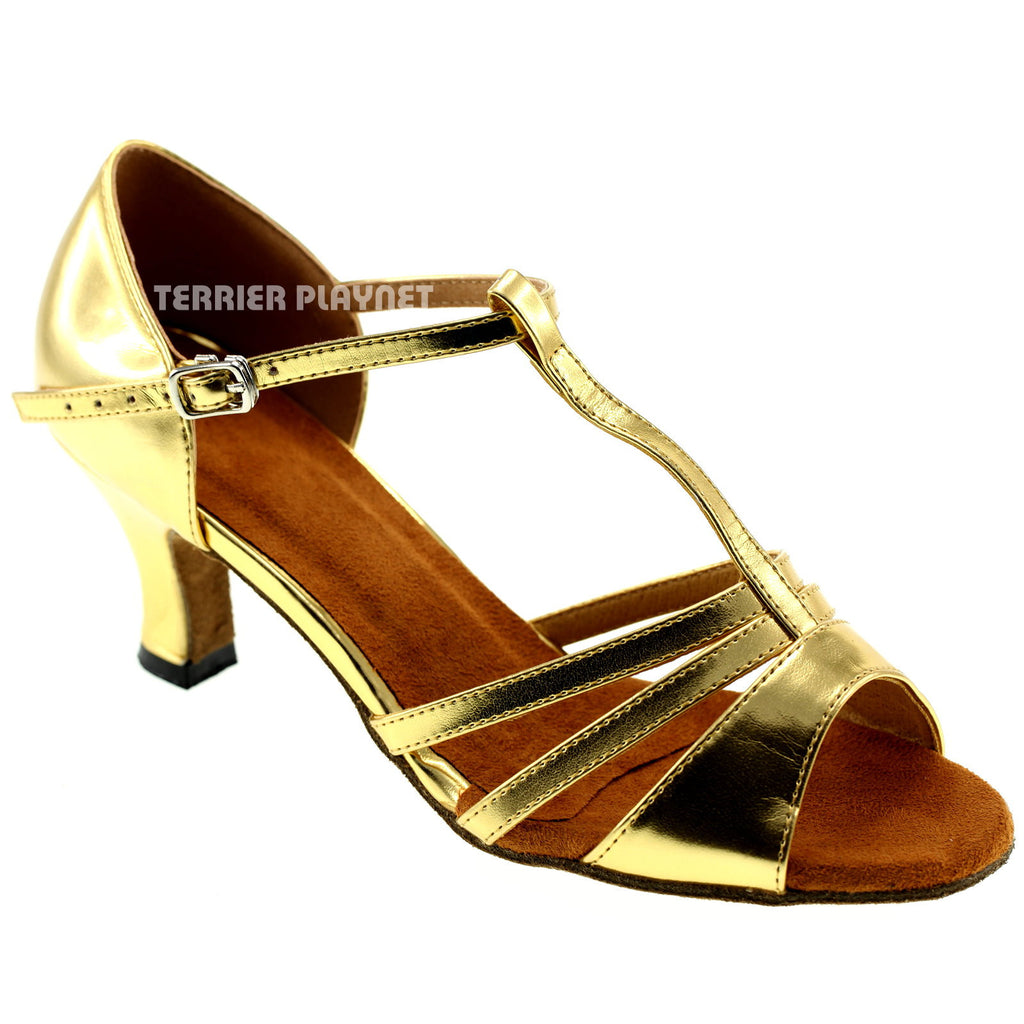 Gold Women Dance Shoes D69 - Terrier Playnet Shop