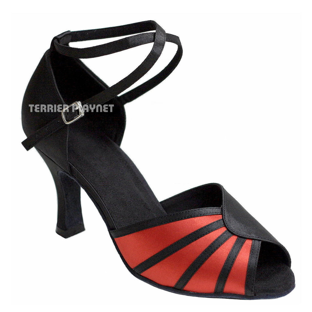 Black & Red Women Dance Shoes D779 - Terrier Playnet Shop
