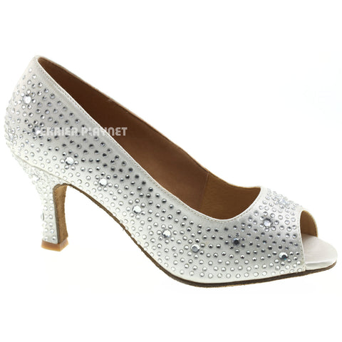 White Women Rhinestone Dance Shoes Q44